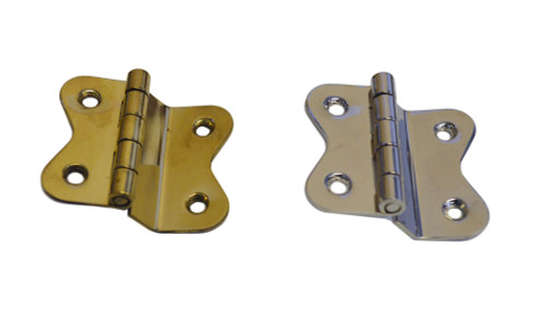 Hoosier Style Offset Hinge in Brass or Nickel