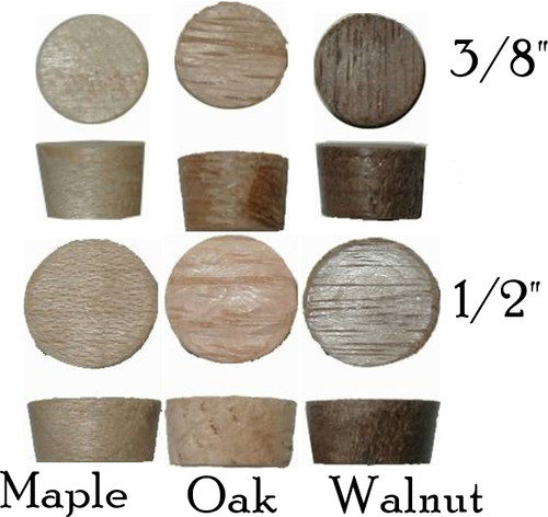 Side grain wood plugs