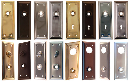 Door Trim Plate with Detailed Edge in Brass, Nickel, Brushed Nickel or Oil Rubbed Bronze