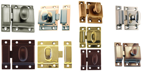 Heavy Duty Cabinet Latch in Brass, Antique Brass, Nickel, Brushed Nickel or Oil Rubbed Bronze
