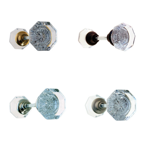 Octagonal Clear Glass Door Knob Set in Brass, Nickel, Brushed Nickel or Oil Rubbed Bronze.
