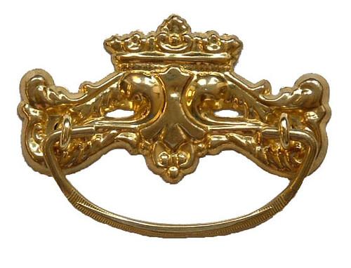 Brass Victorian Bail Style Drawer Pull, Brass