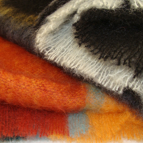 Plaid Mohair Throw Blankets (Arctic & Picasso)