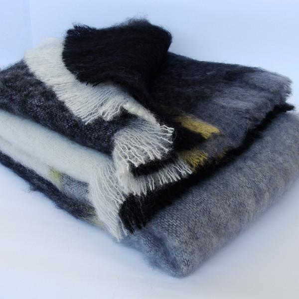 Black & White Check Mohair Blankets