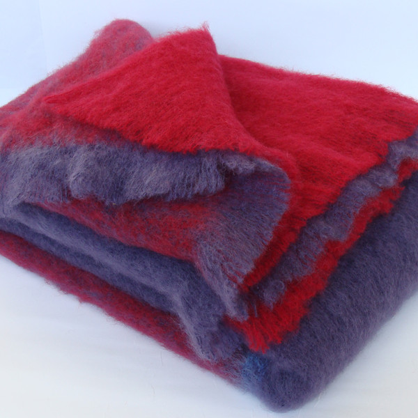 Berry Check Mohair Blankets