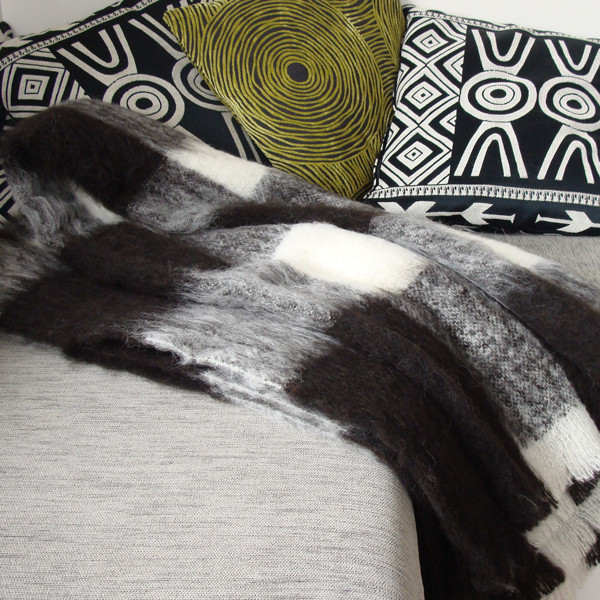 Black & White check throw blanket in Alpaca