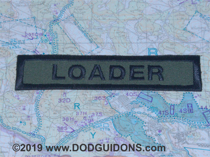LOADER QUALIFICATION TAB  Done in classic Tanker Jacket Patch Style.