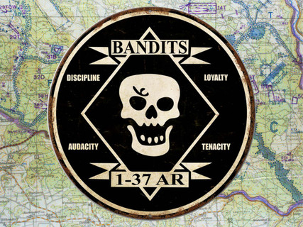 37th Armor Bandits Metal Sign Weathered Finish