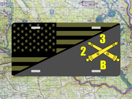 Artillery/US Flag License Plate Digital Tactical Color