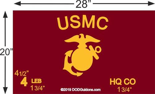 """USMC GUIDON Full Size for Frame (20""""x28"""")"""