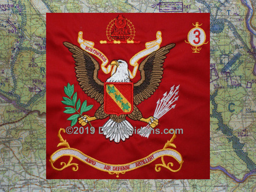 "Miniature Regimental Flag of the 3BN 43rd Air Defense Artillery ""SUSTINEMUS"""