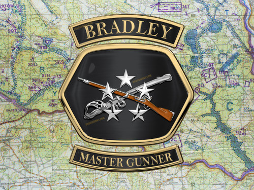 Bradley Master Gunner medallion shadow box