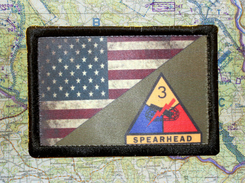Full Color 3rd Armor Division USA Flag Morale Patch Tactical Army Airsoft
