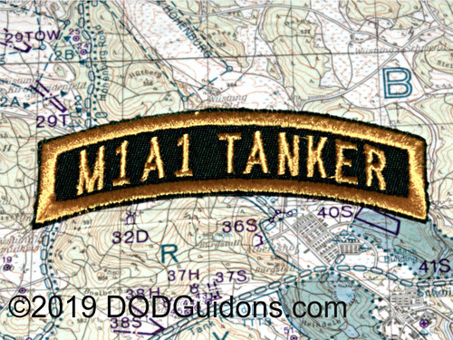 "M1A1 TANKER TAB GREEN AND GOLD  Done in Tanker Jacket Style Patch Measures 3.5""x1"""