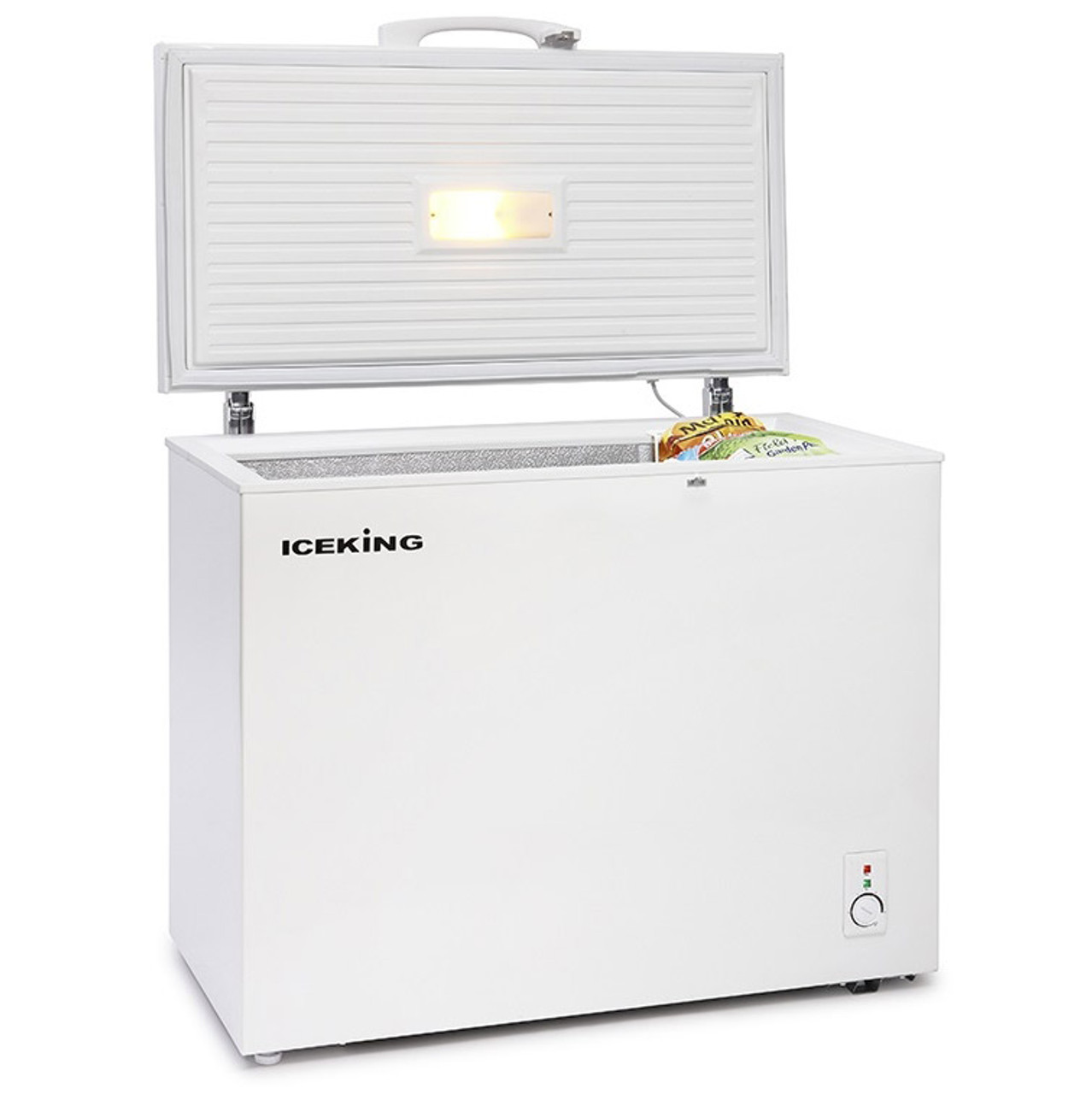 Ice King CF200W 98cm Chest Freezer in White For a safe and secure storage solution for your frozen food the IceKing CF200W A+ Rated Chest Freezer is ideal.It has a huge 200 Litre capacity, moveable storage basket & convenient light inside the lockable lid.   Description:  200 Litre Capacity A+ Energy Rating 1 Basket Operating Light Colour: White H845 x W980x D560 mm Fast Freeze