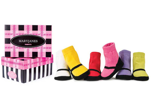 6 pairs of cotton baby girl socks in a gift box.  White, Yellow, Red, Pink, Lavender and Green with black.