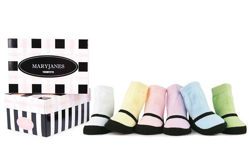 6 pairs of pastel cotton socks for girls that look like mary jane shoes.  Gift box.