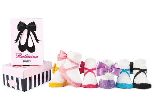 6 pairs of cotton baby girl socks with satin bows on back ankles in a gift box.