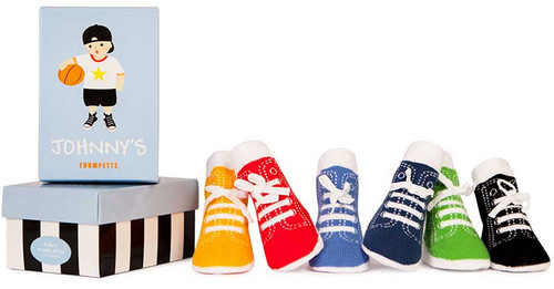 Cotton infant shoes that look likes tennis shoes.  six pairs. gift box