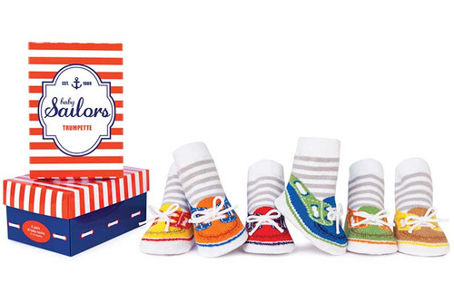 6 pairs of baby cotton socks in a gift box.  Designed to look like tennis shoes and socks. Stripes on ankles.
