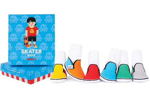 Six pairs of cotton baby socks in bright colors in a gift box.  For infant boys.