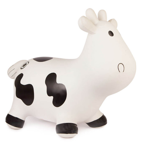 White Rubber Inflatable Ride On Toy in the shape of a cow