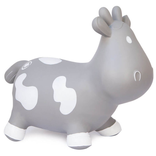 Grey Rubber Inflatable Ride On Toy in the shape of a cow
