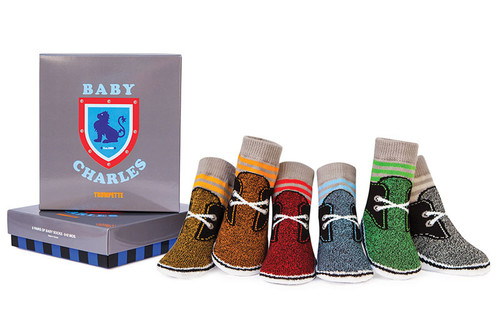 6 pairs of baby socks in a gift box. Cotton. Look like shoes.  For boys.