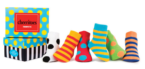 6 pairs of brightly colored polka dot and striped baby socks in a gift box.  For ages 0 - 12 months.