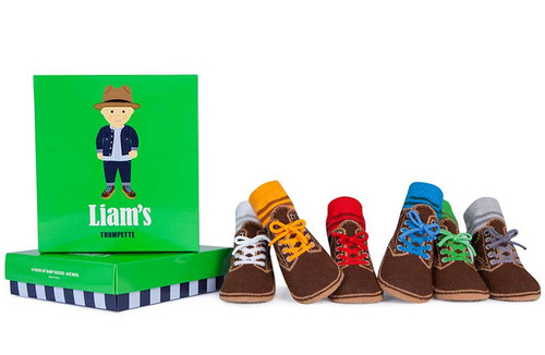 6 pairs of cotton baby socks for boys in a gift box. Designed to look like hiking boots.