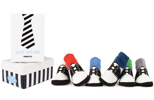 6 pairs of cotton socks for baby boys.  Designed to look like oxford shoes.  In a gift box.