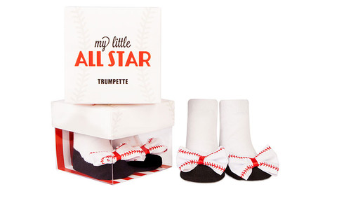 Baby socks with 3D bow with baseball look.  In a gift box. Ages 0 -12 months.