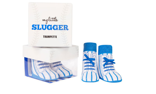 Cotton baby socks that look like baseball shoes with faux 3D laces.  In a gift box. Ages 0 - 12 months