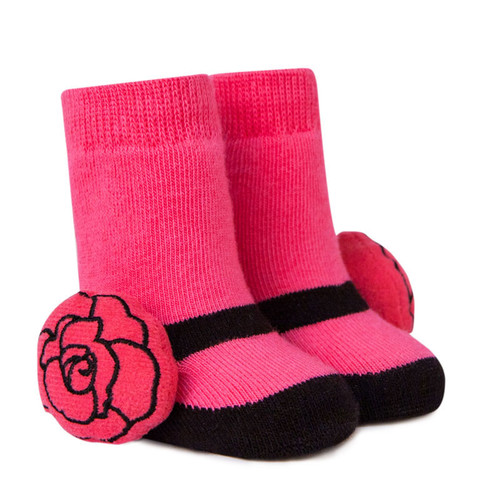 Pink Baby socks with rose rattle attachment.  In cotton. In gift box.