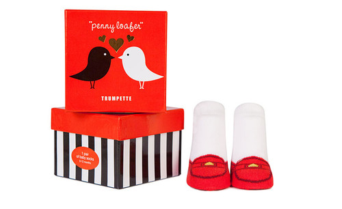 Baby socks for girls that look like a red loafer.  In a gift box.