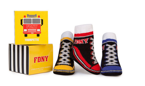 Cotton baby socks with Fire Department of NY design.  3 Pairs in a gift box.