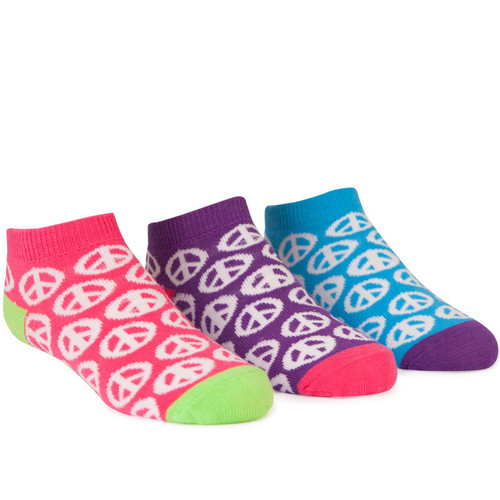 Anklet socks for kids with peace sign designs.  In piggy bank tin.