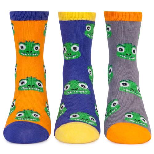 Kid's socks with t-rex, dinosaur design. 3 pairs