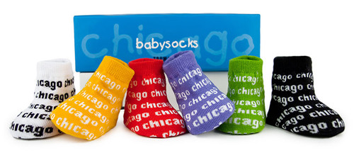 6 pairs of brightly colored cotton baby socks with Chicago woven into them.  Gift Box. Ages 0-12 months