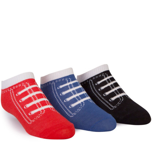"""3 pairs of cotton socks with """"tennis shoe"""" toes for kids ages 2 - 8."""