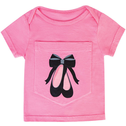 Big Pocket t-shirt with ballet shoe design.  For babies ages 0 - 6 months