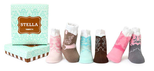 Cotton baby socks for girls designed to look like cowboy boots.   6 pairs come in a gift box.