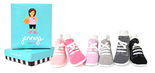 Baby socks for girls ages 0 -12 months.  6 pairs of cotton baby socks designed to look like hightop shoes.  Come in a gift box.