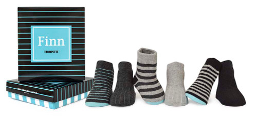Cotton baby socks for boys.  6 pairs of striped and solid socks.  In gift box.