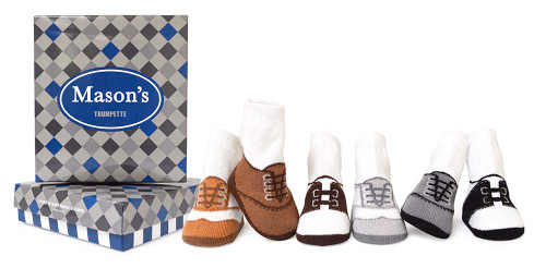 Boys cotton baby socks designed to look like oxford shoes. 4 pairs of cotton socks for children 0 - 12 months.  In a gift box.