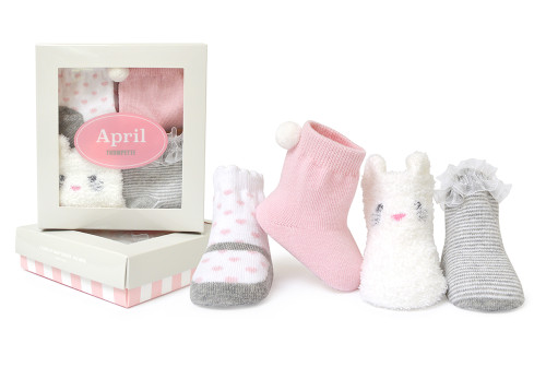 Girls cotton baby socks in Easter designs.  Grey, White and Pink.  4 pairs in Gift Box.