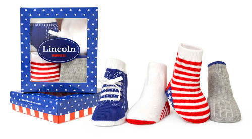 Boys baby socks  in red, white and blue. Perfect for the 4th of July. 4 pairs in Gift Box.