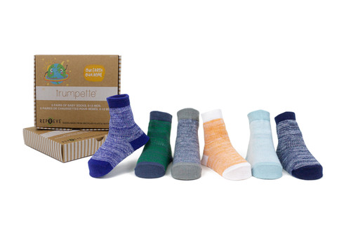 Casey Space Dye Blue, 6 pack - Recycled