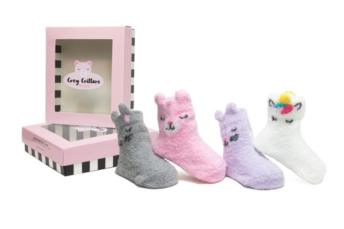 Cozy Critters 4 Pack Infant Bootie Socks