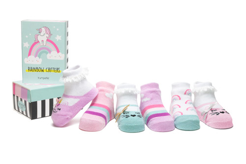 Rainbow Critters 6 Pack Infant Bootie Socks
